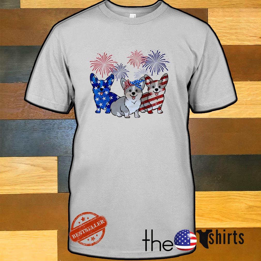 Three Corgis blue white and red American flag shirt