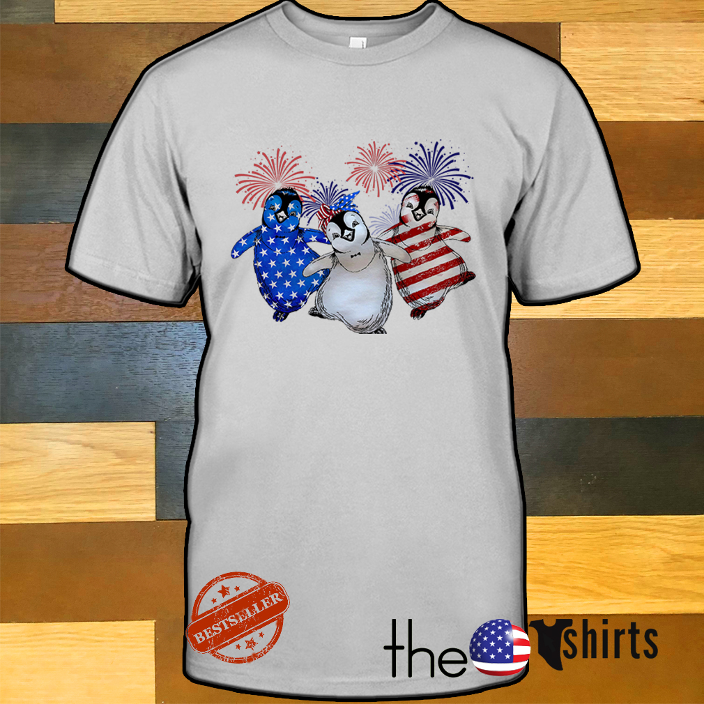 Three Penguins blue white and red American flag shirt