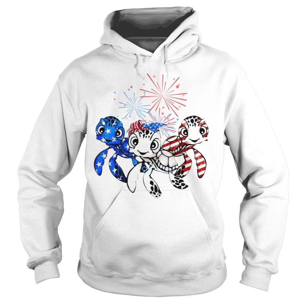 Three turtles blue white and red American flag Hoodie