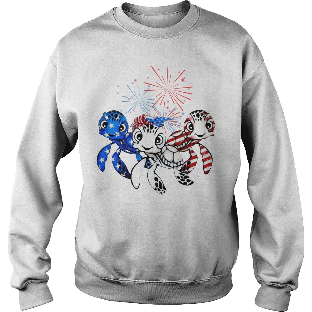Three turtles blue white and red American flag Sweater