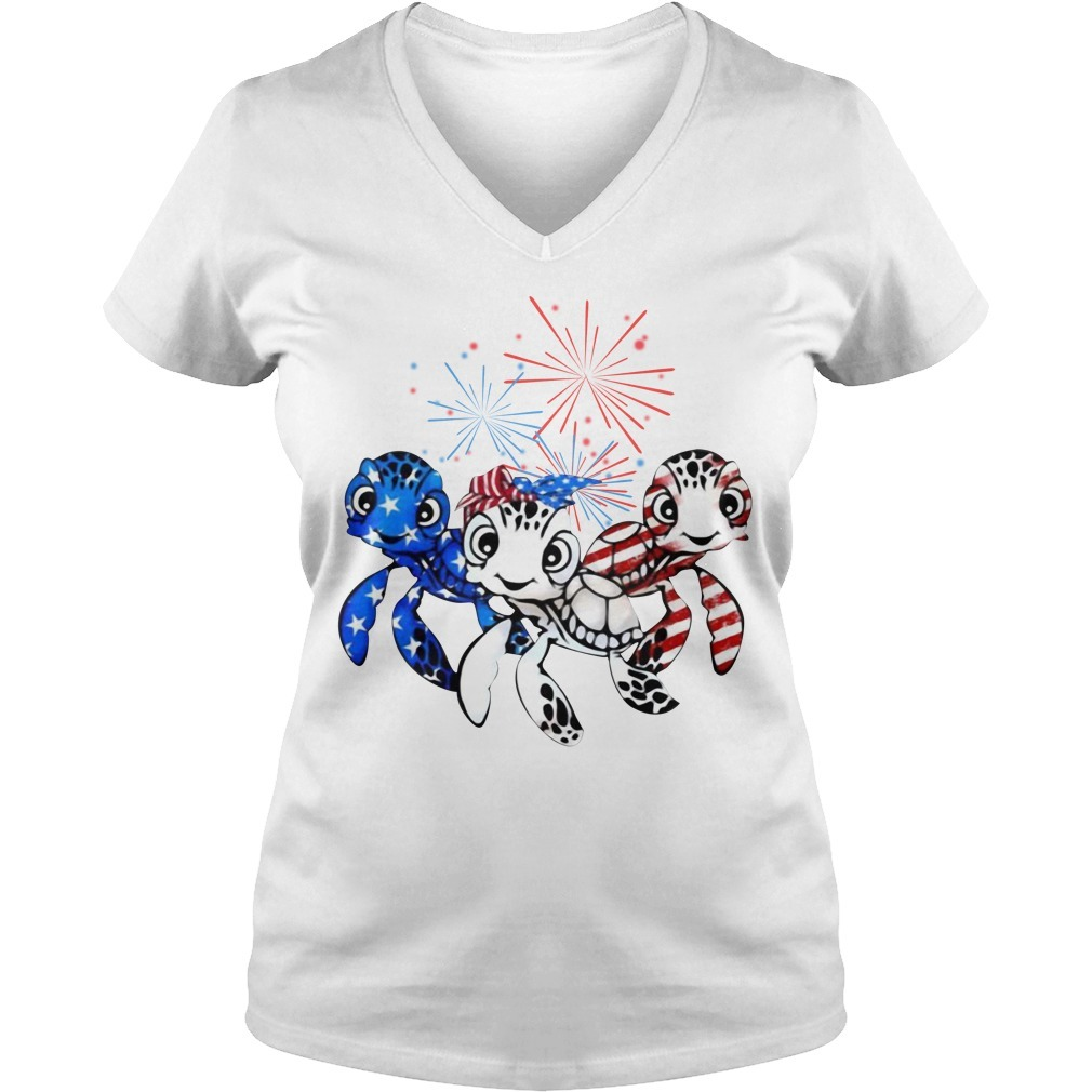 Three turtles blue white and red American flag V-neck T-shirt