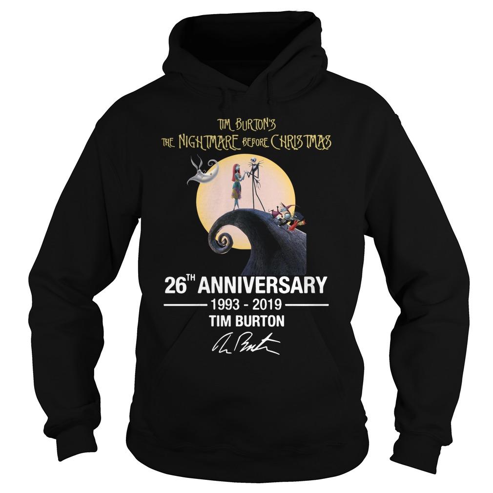 Tim Burton's the nightmare before Christmas 26th anniversary 1993-2019 signature Hoodie