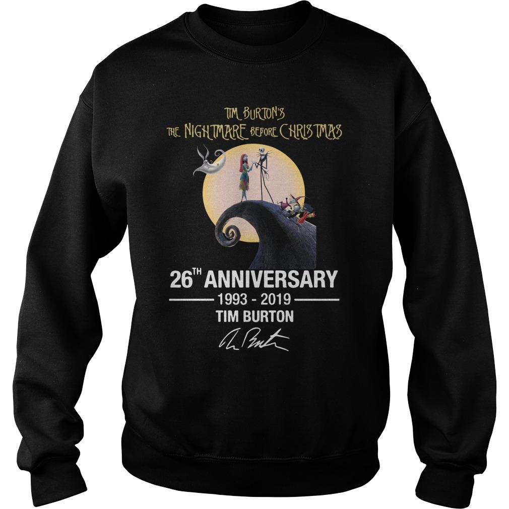 Tim Burton's the nightmare before Christmas 26th anniversary 1993-2019 signature Sweater