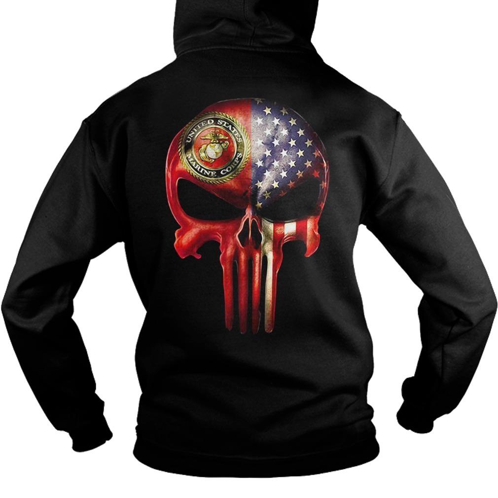 U.S. Marine skull and American flag all over Hoodie