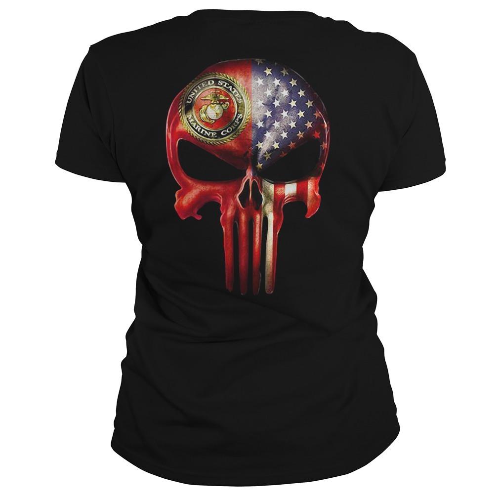 U.S. Marine skull and American flag all over Ladies Tee