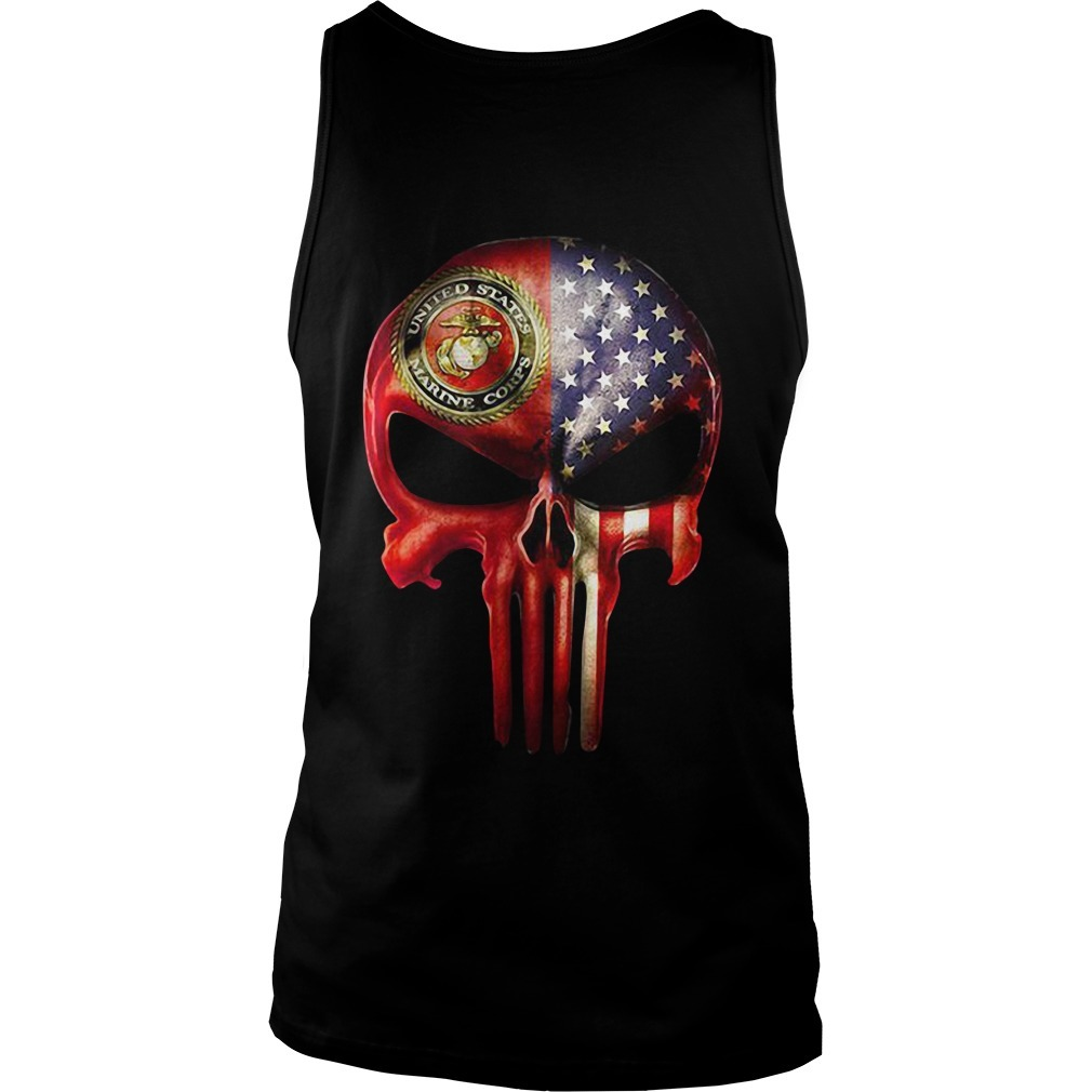 U.S. Marine skull and American flag all over Tank Top