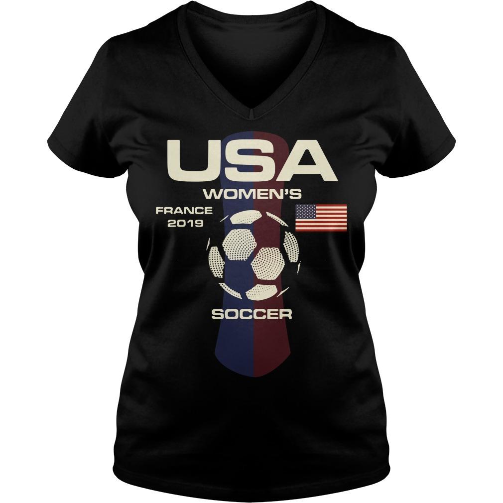 USA women's France 2019 soccer V-neck t-shirt