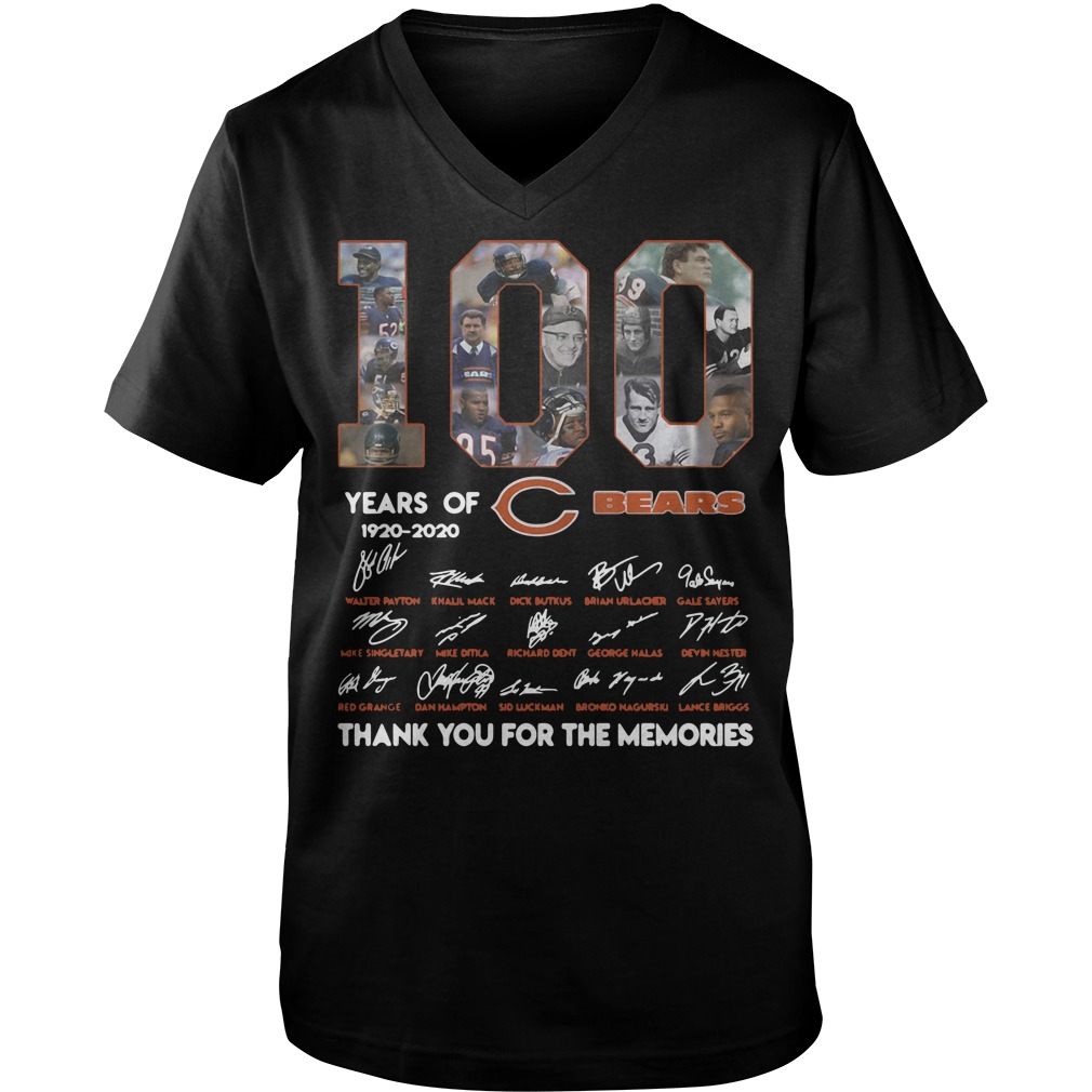100 Years of Chicago Bears 1920-2020 signature Guy V-Neck