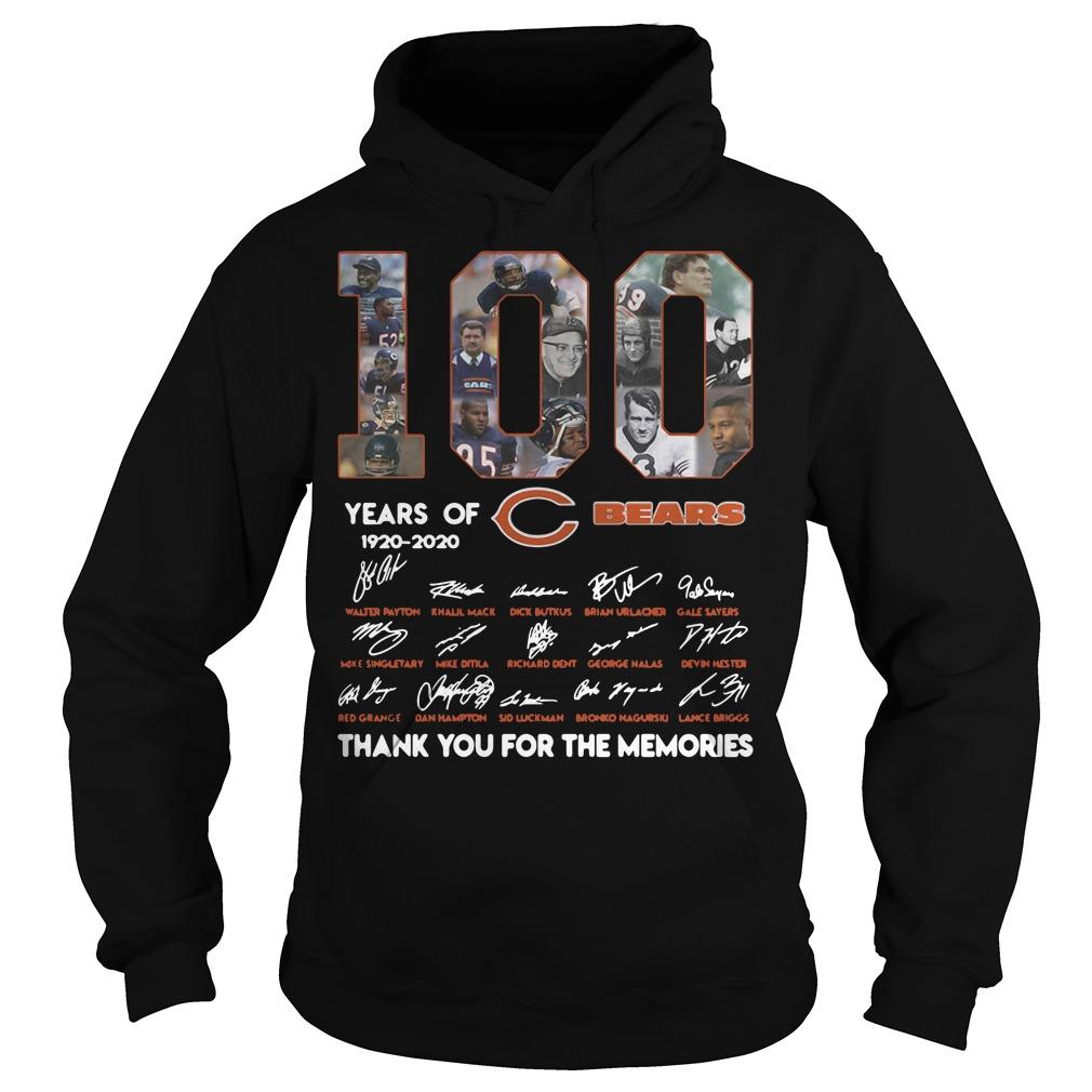 100 Years of Chicago Bears 1920-2020 signature Hoodie