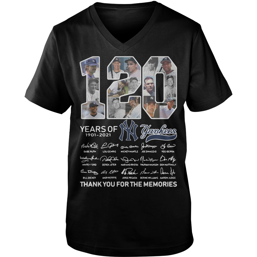 120 Years of 1901-2021 Yankees signature thank you for the memories Guy V-Neck