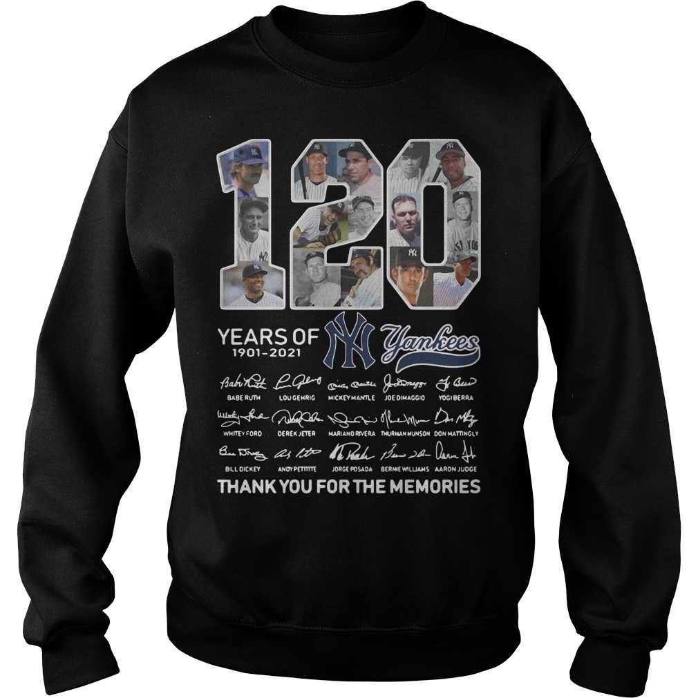 120 Years of 1901-2021 Yankees signature thank you for the memories Sweater