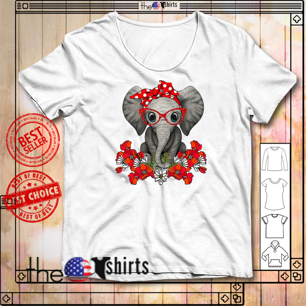 Flower elephant with red bandana and glasses cute shirt