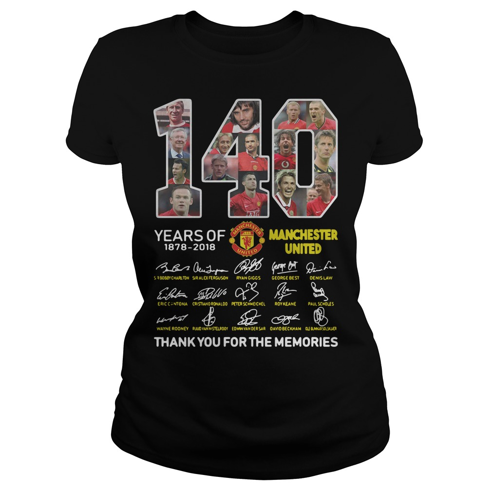 140 Years of Manchester United 1878-2018 signature Ladies Tee