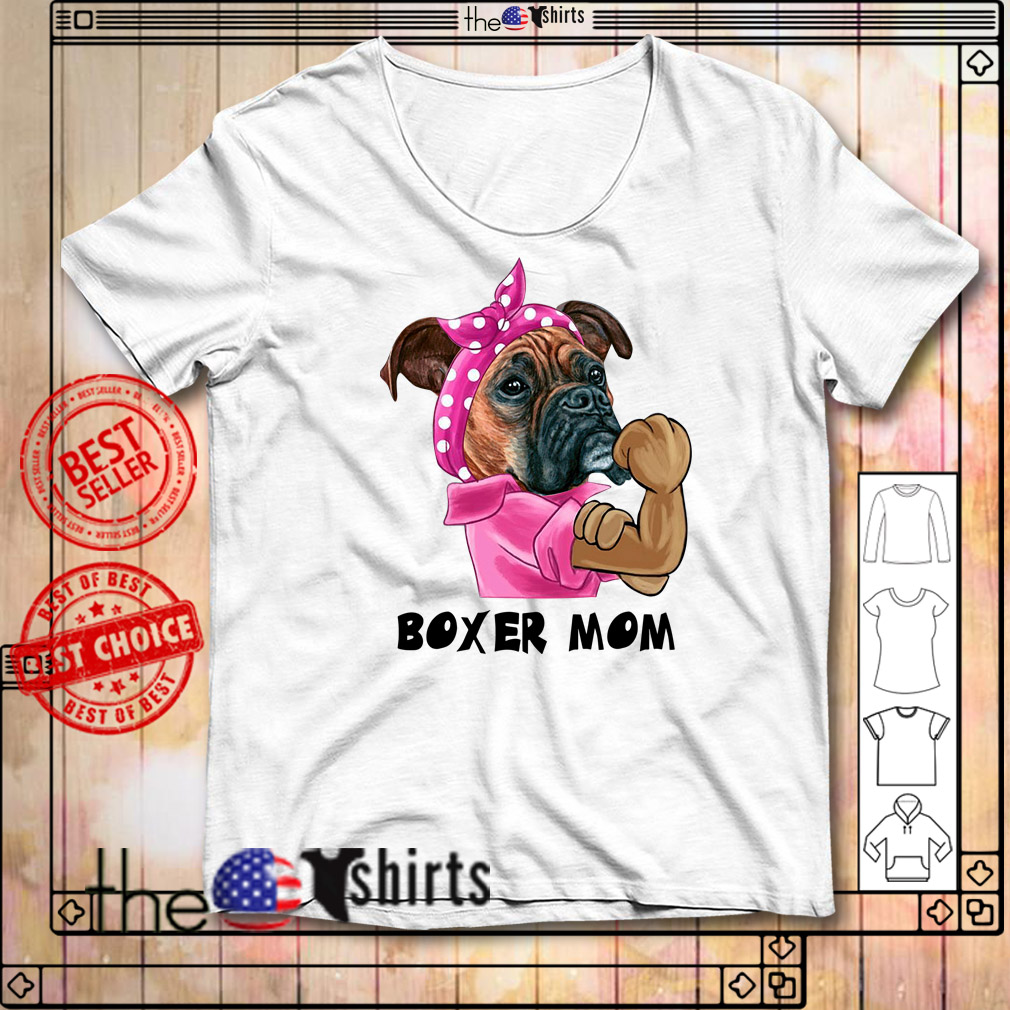 Pulldog with bandana boxer mom strong mom shirt