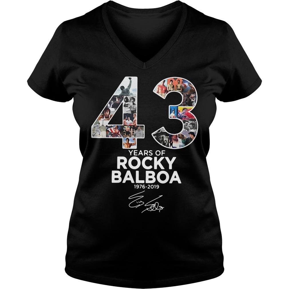 43 Years of Rocky Balboa 1976-2019 signature V-neck T-shirt