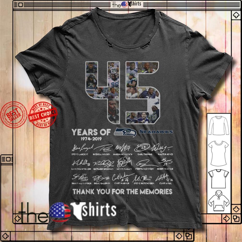 45 Years of Seattle Seahawks 1974-2019 signature shirt
