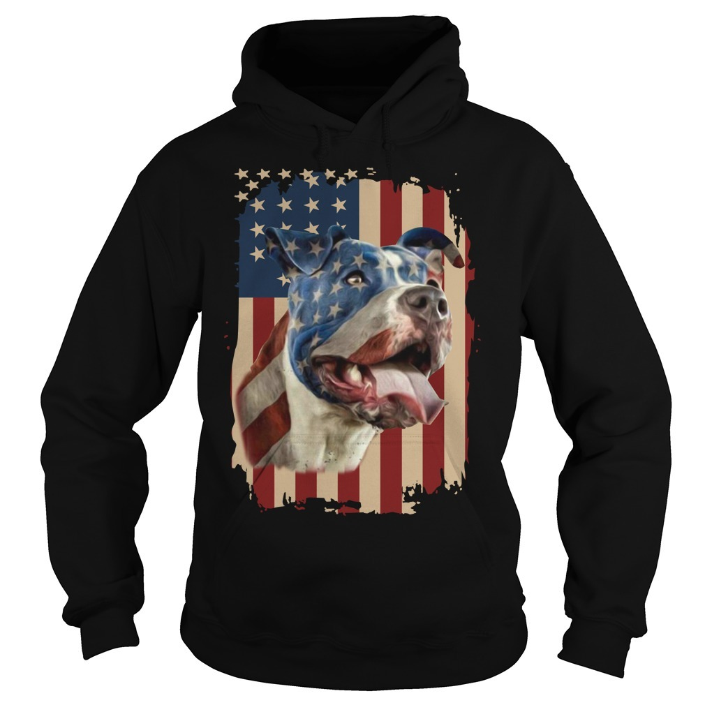 4th July independence day pitbull American flag Hoodie
