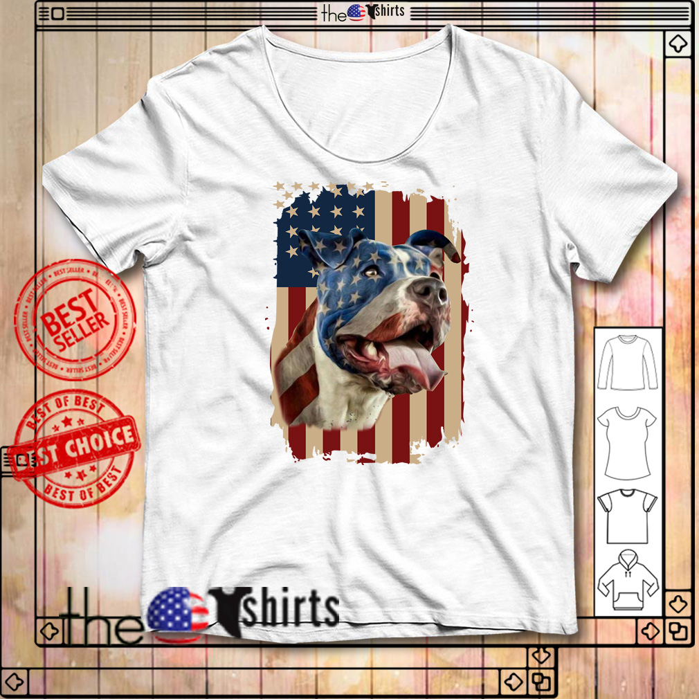 4th July independence day pitbull American flag shirt