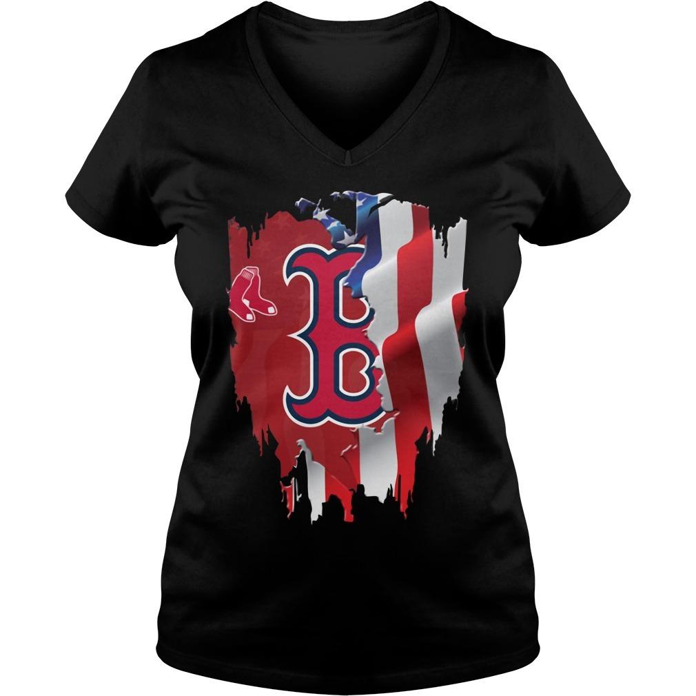 4th Of July Boston Red Sox  America flag V-neck T-shirt