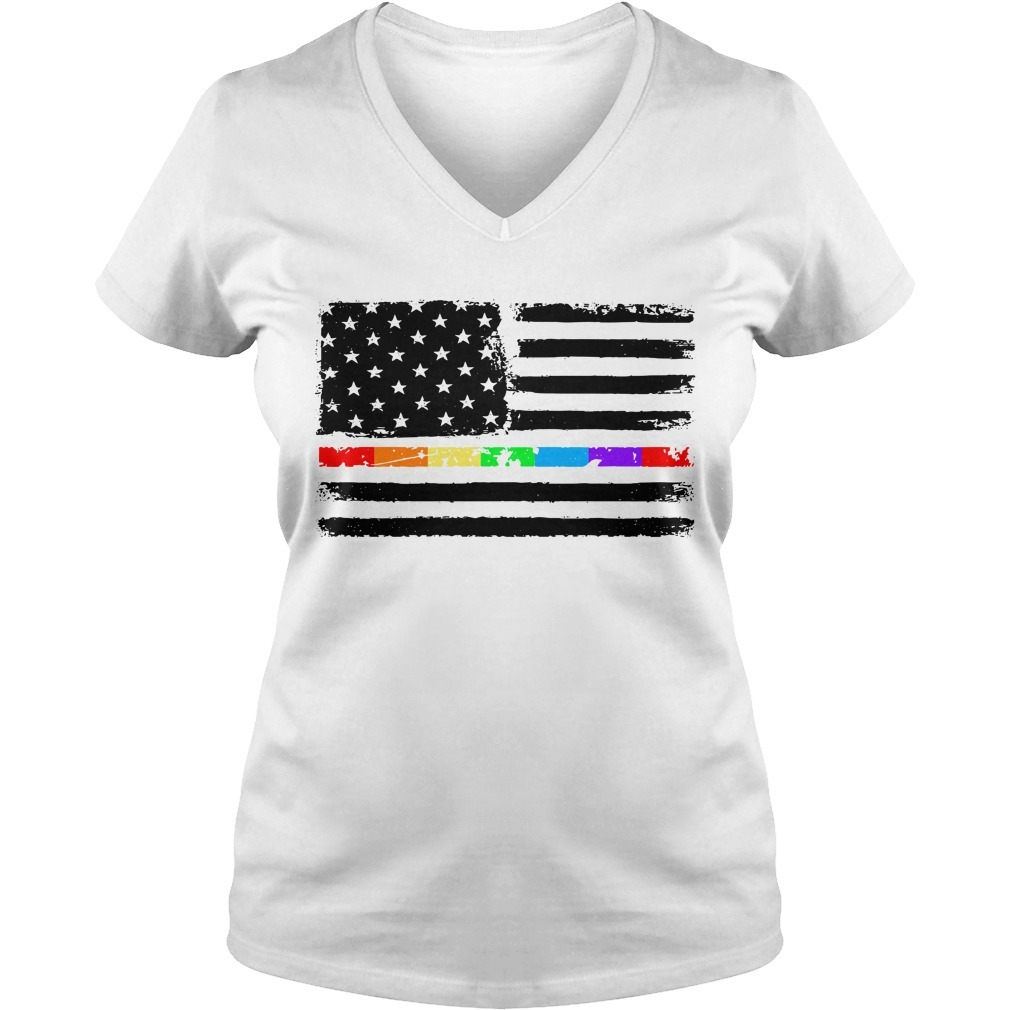 4th Of July independence day America flag LGBT V-neck T-shirt