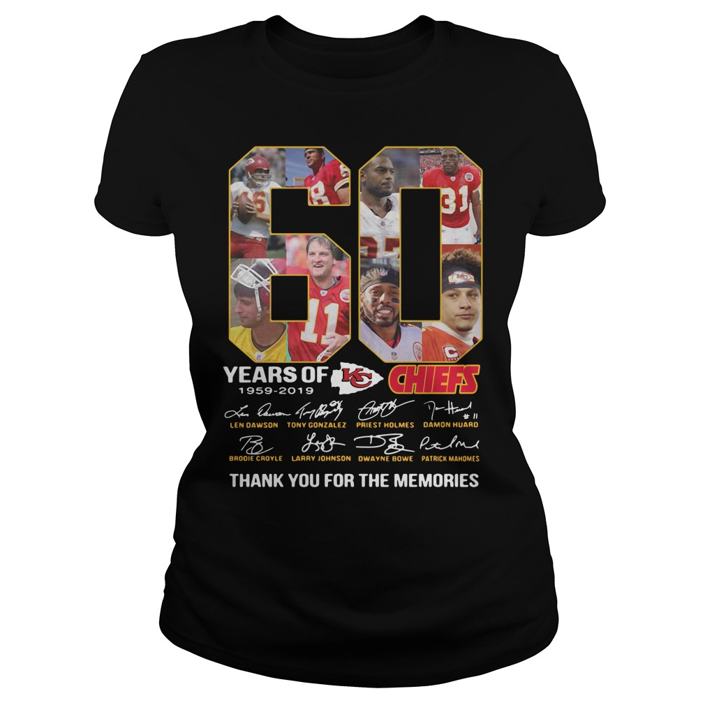 60 years of the Kansas City Chiefs 1959 2019 thank you for the memories Ladies Tee