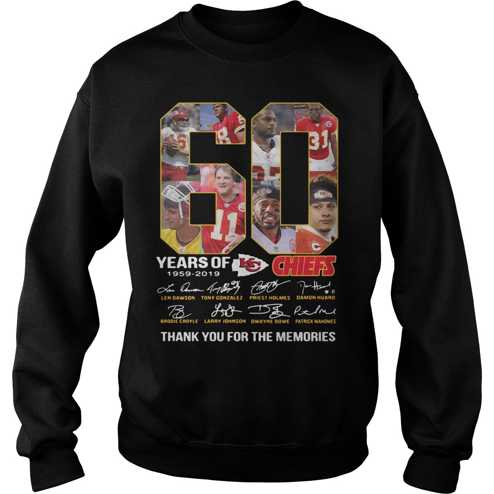 60 years of the Kansas City Chiefs 1959 2019 thank you for the memories Sweater