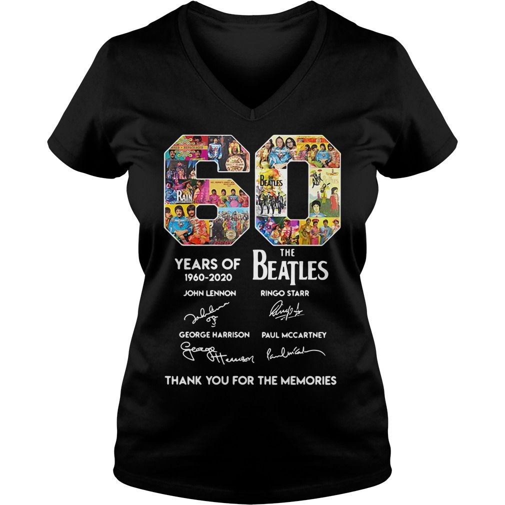60 Years of The Beatles 1960-2020 thank you for the memories signature V-neck T-shirt