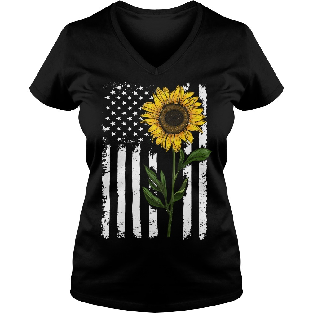 American flag sunflower V-neck T-shirt