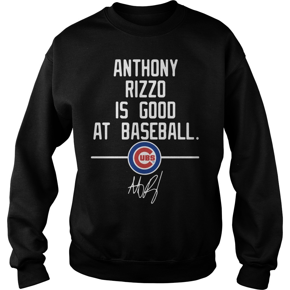 Anthony Rizzo is good at baseball Chicago Cubs signature Sweater