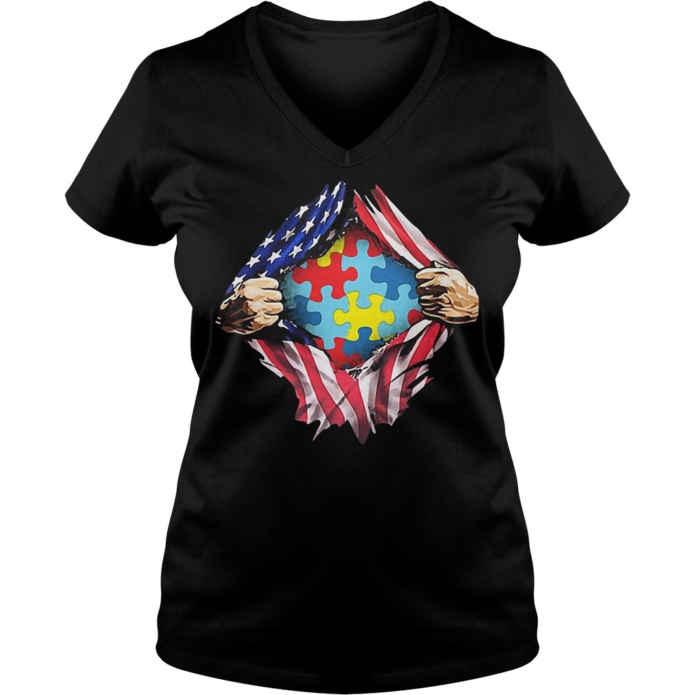 Autism awareness inside me 4th of July independence day V-neck T-shirt