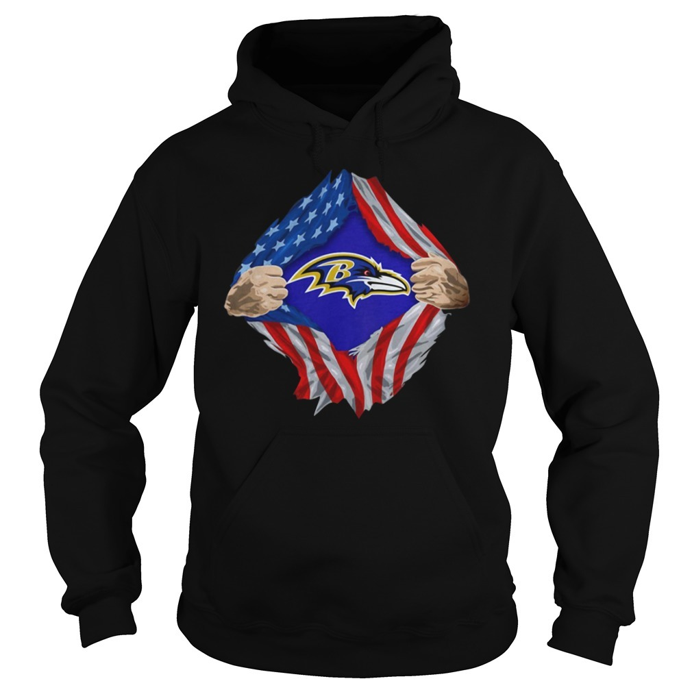 Baltimore Ravens Torn American flag NLF logo Hoodie