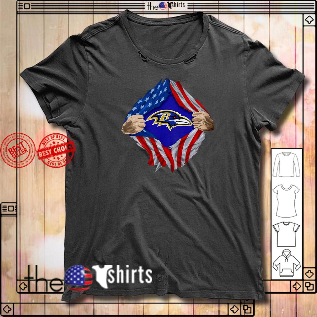 Baltimore Ravens Torn American flag NLF logo shirt