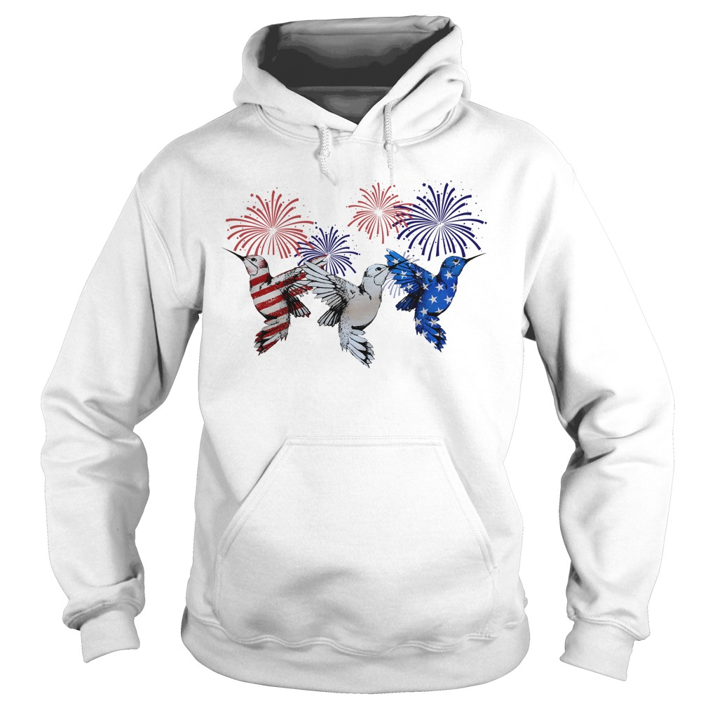 Birds red white and blue American flag Hoodie