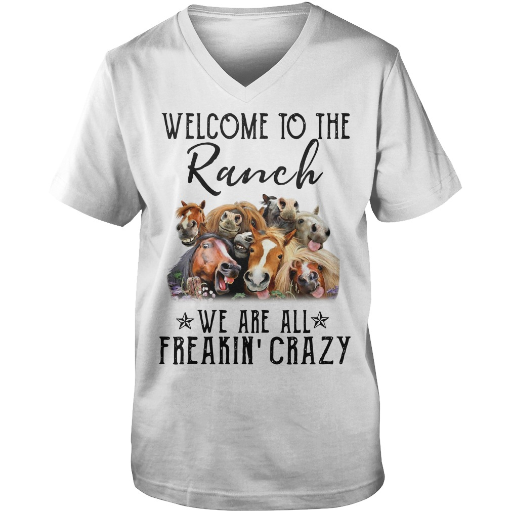 Cows welcome to the Ranch we are all freakin' crazy Guy V-Neck