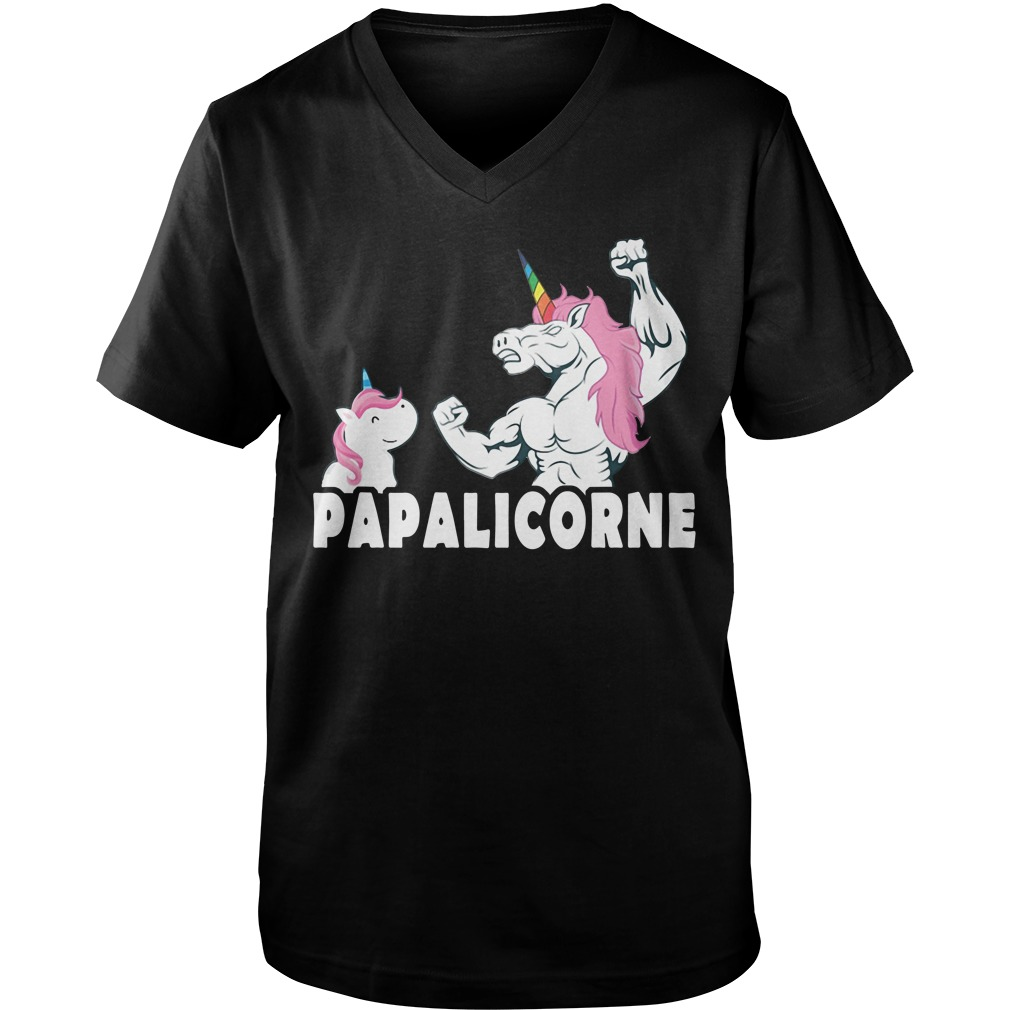 Dad and daughter Unicorn Papaeinhorn Guy V-Neck