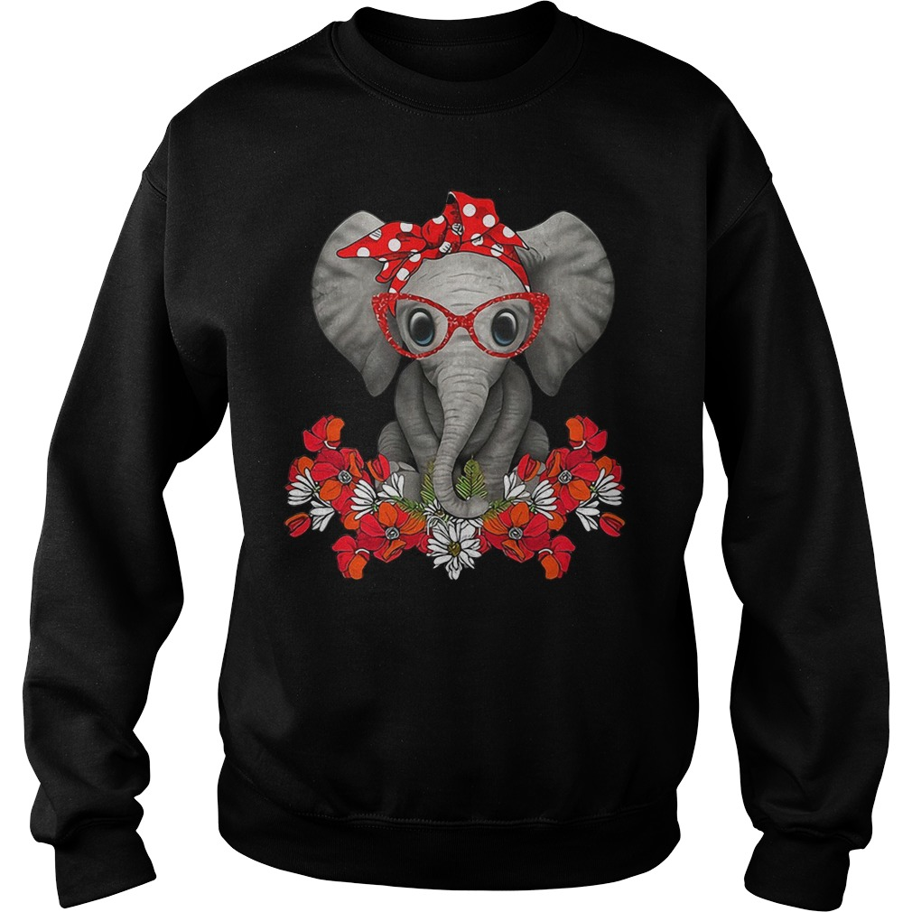 Flower elephant with red bandana and glasses cute Sweater