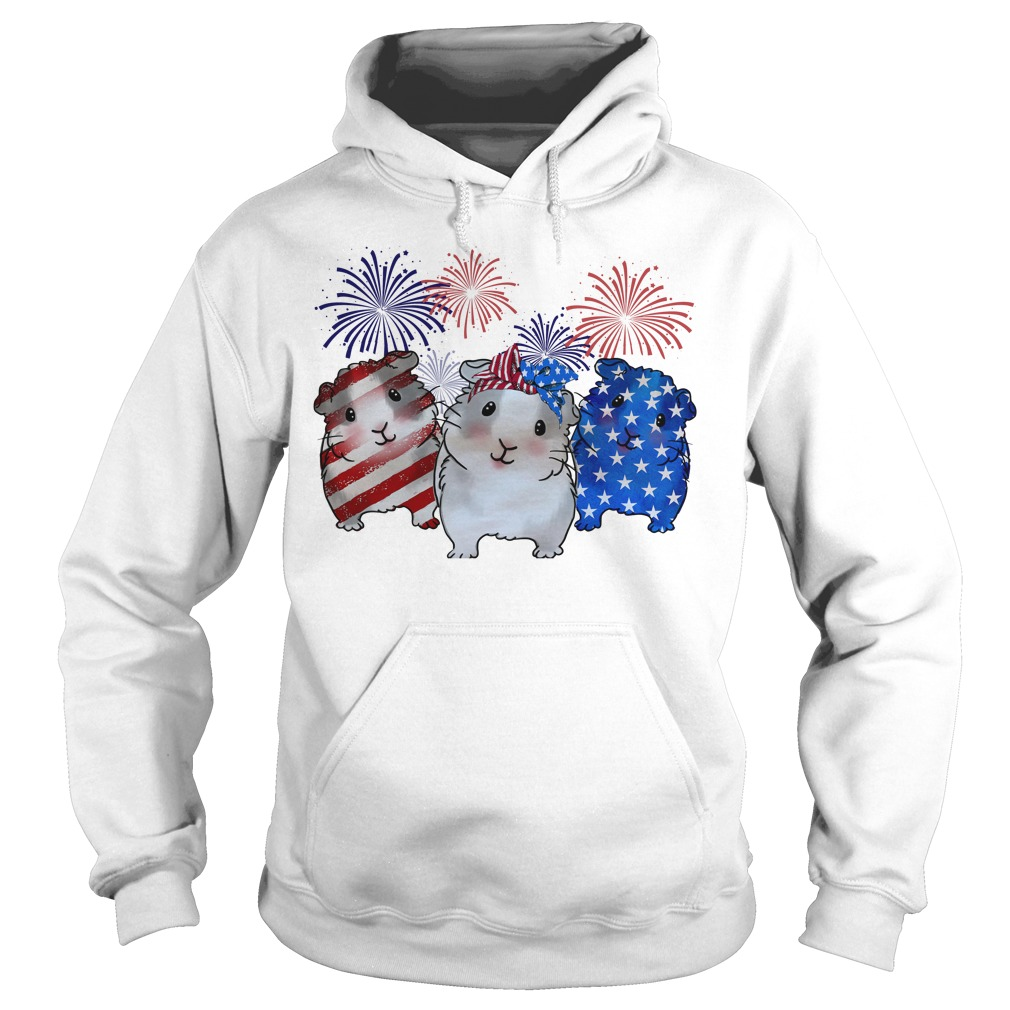 Guinea pigs red white and blue American flag Hoodie