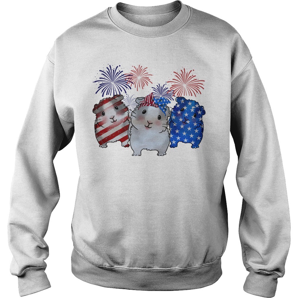 Guinea pigs red white and blue American flag Sweater