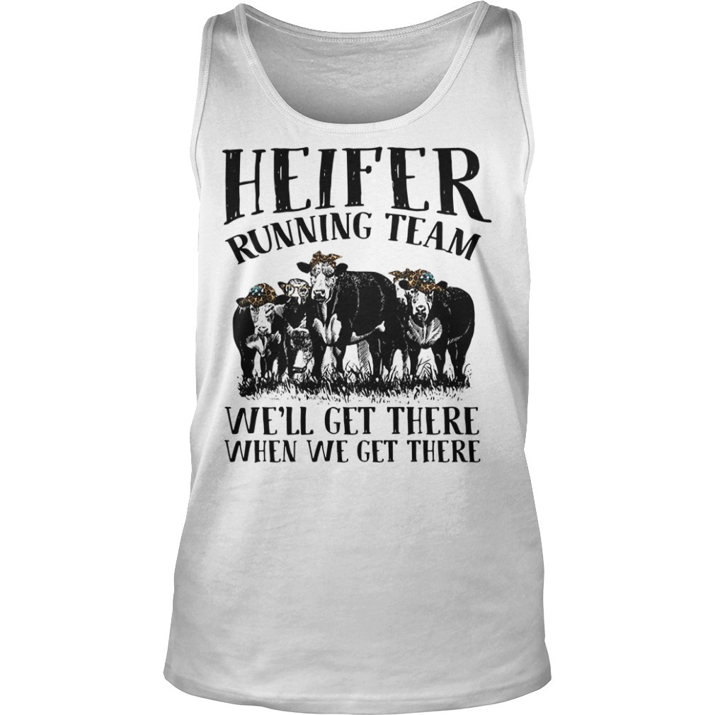 Heifer with leopard bandana running team we'll get there when we get there Tank top