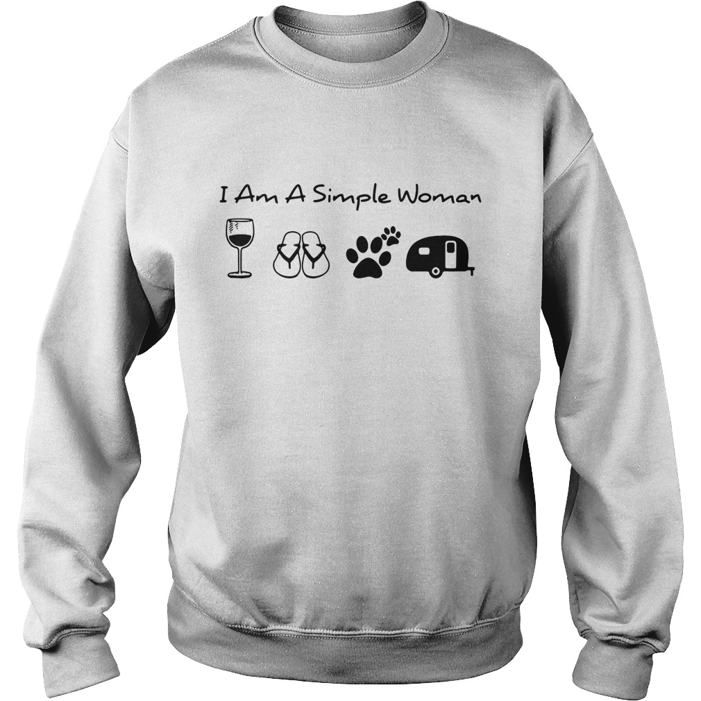 I'm a simple woman I like wine flip flop dog paw and camping Sweater