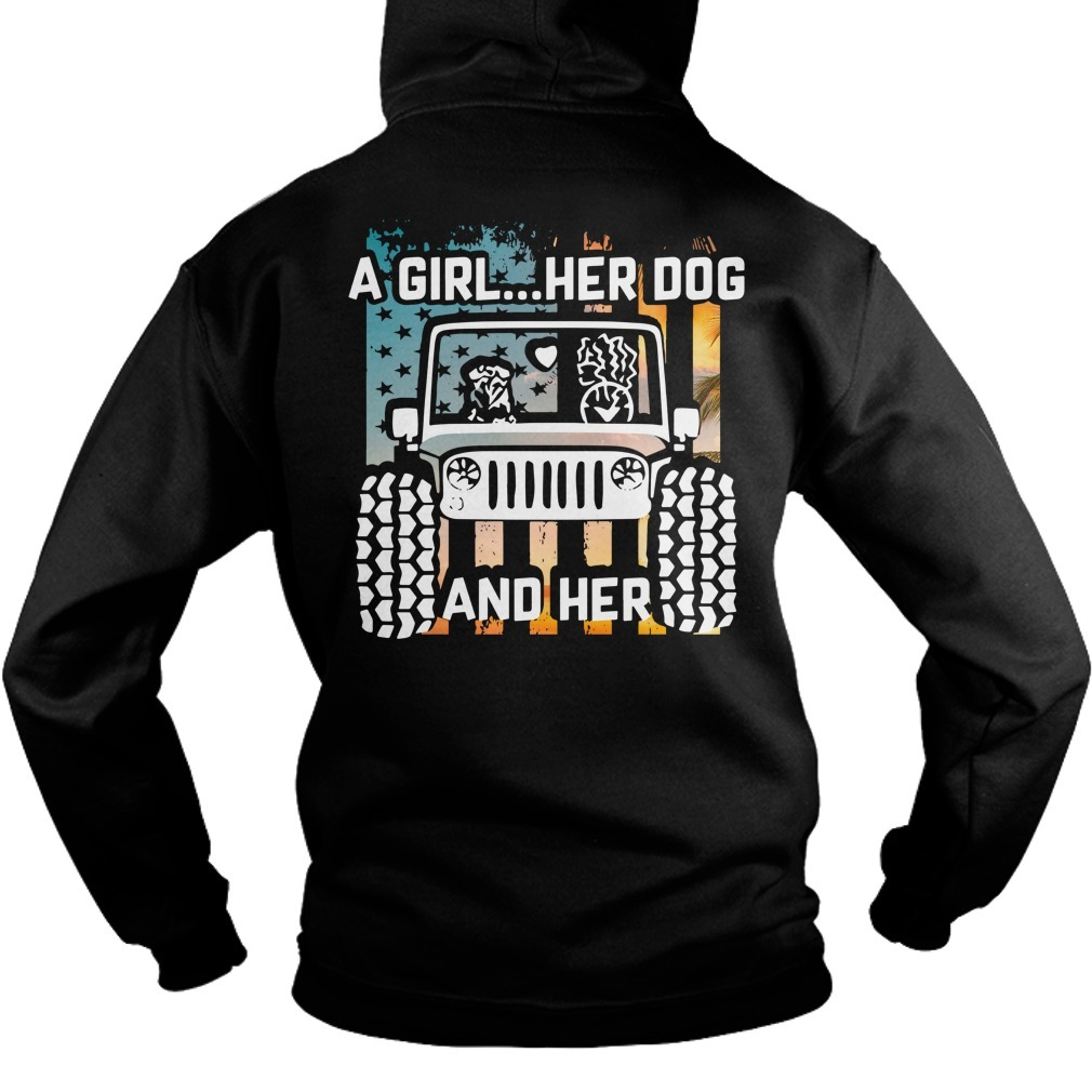 Jeep a girl her dog and her paw dog Veteran Hoodie