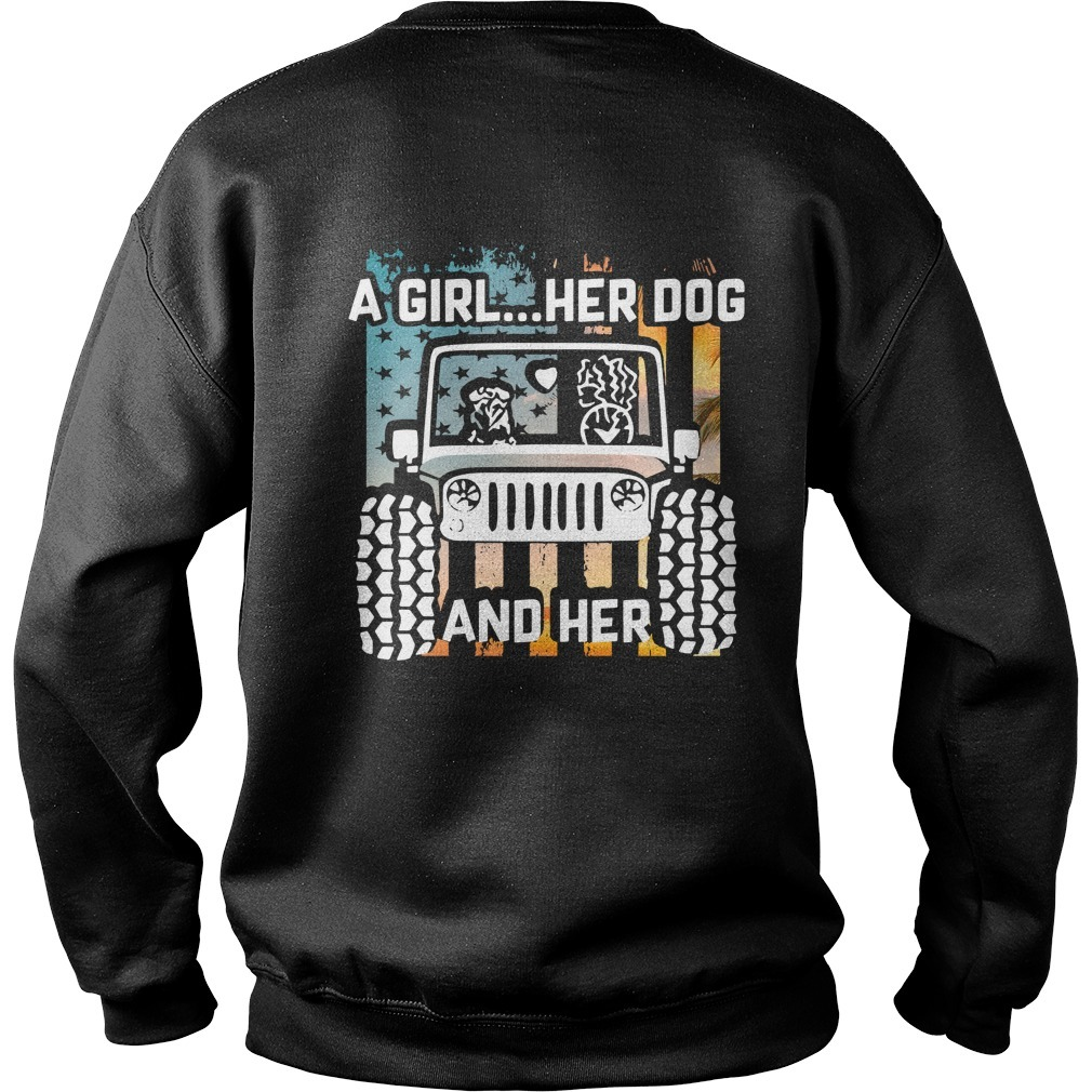 Jeep a girl her dog and her paw dog Veteran Sweater