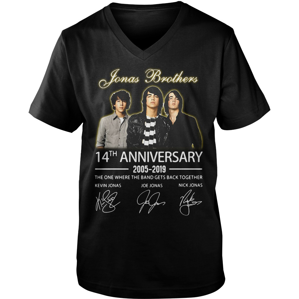 Jonas Brothers 14th anniversary 2005-2019 signature Guy V-Neck