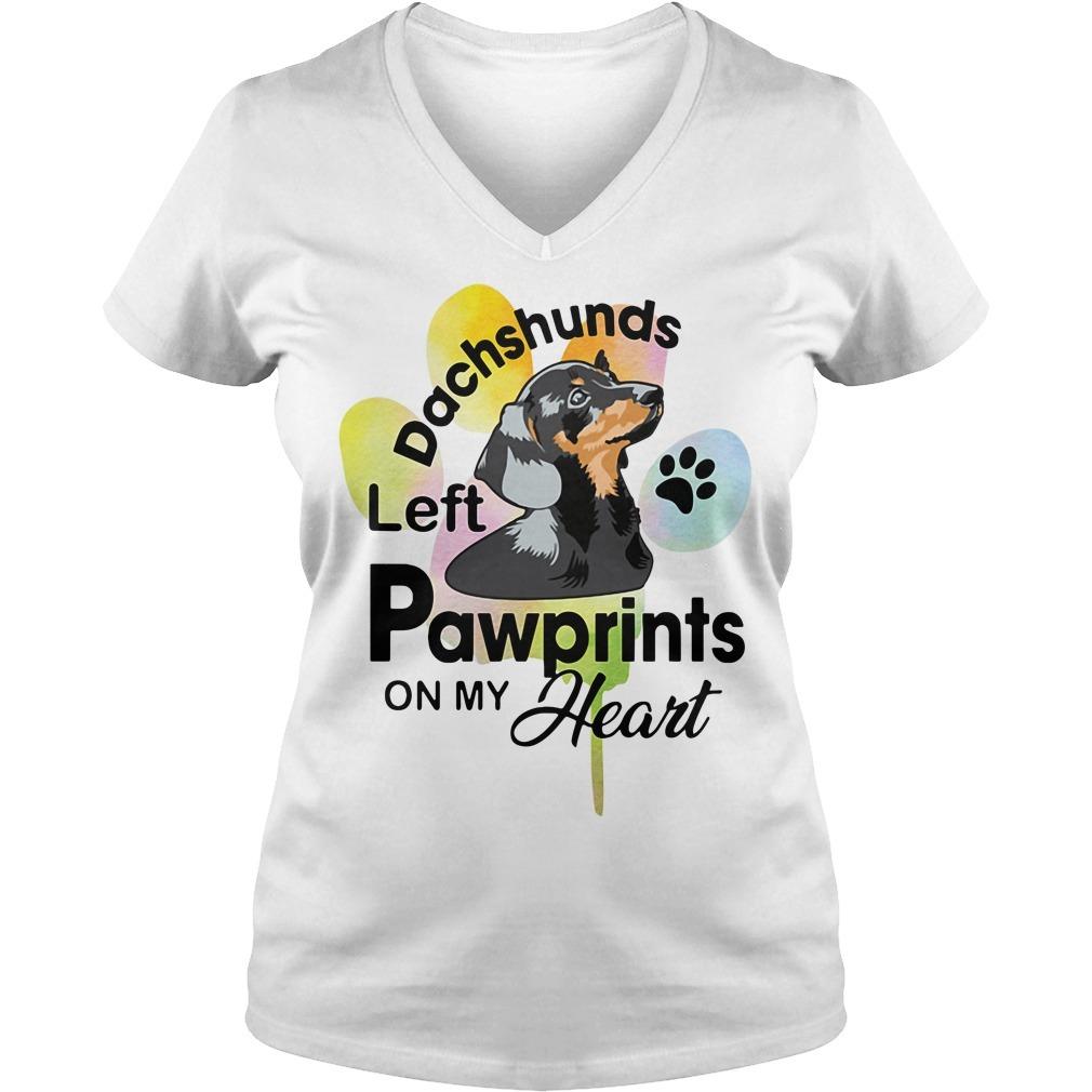 Left pawprints on my heart dachshunds V-neck T-shirt