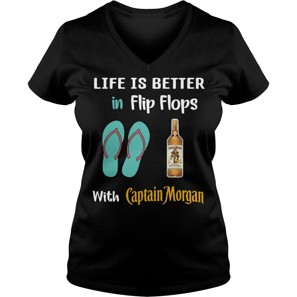 Life is better in flip flops with Captain Morgan V-neck T-shirt