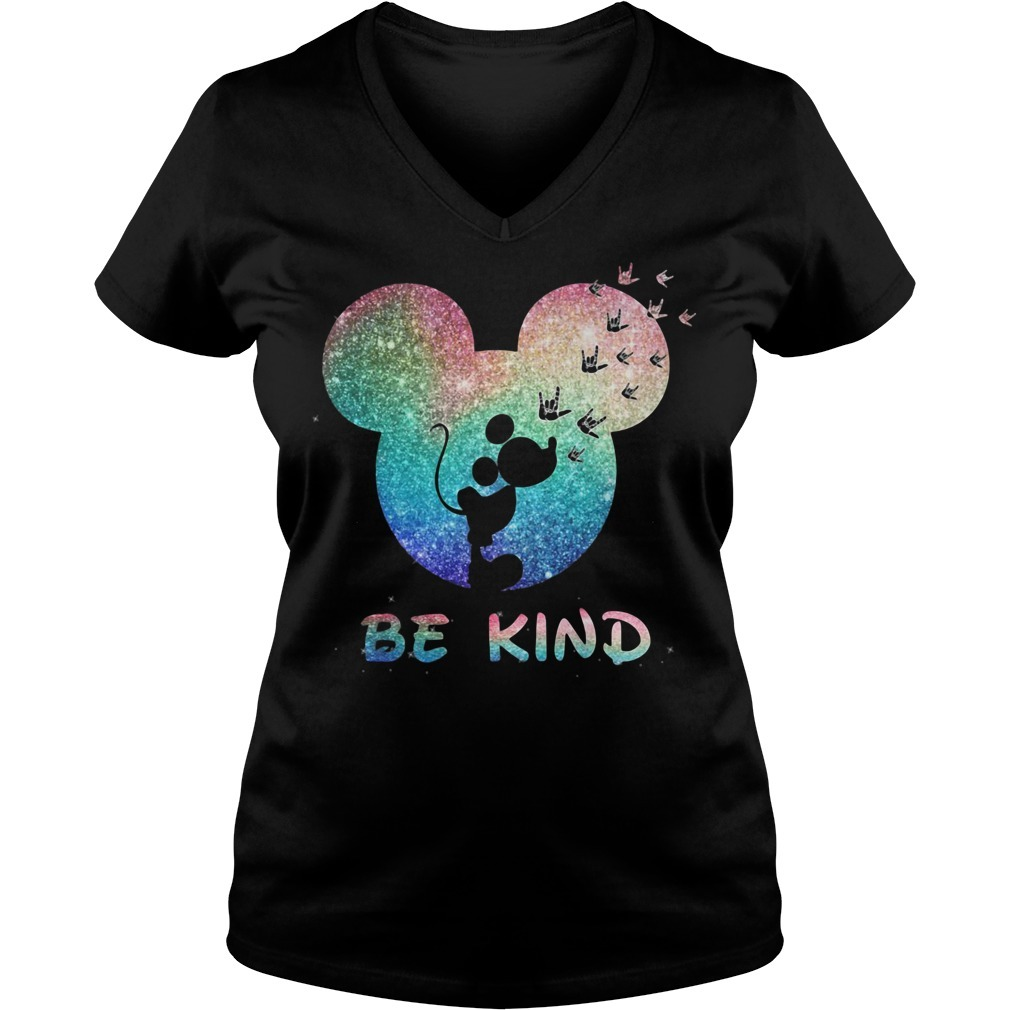 Mickey Mouse Disney love be kind V-neck T-shirt