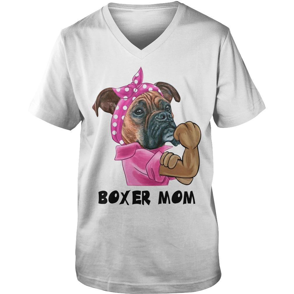 Pulldog with bandana boxer mom strong mom Guy V-Neck
