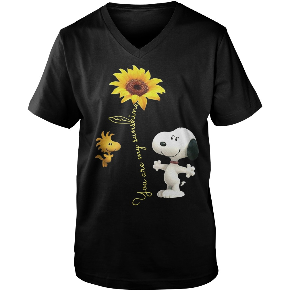 Snoopy and woodstock sunflower you are my sunshine Guy V-Neck