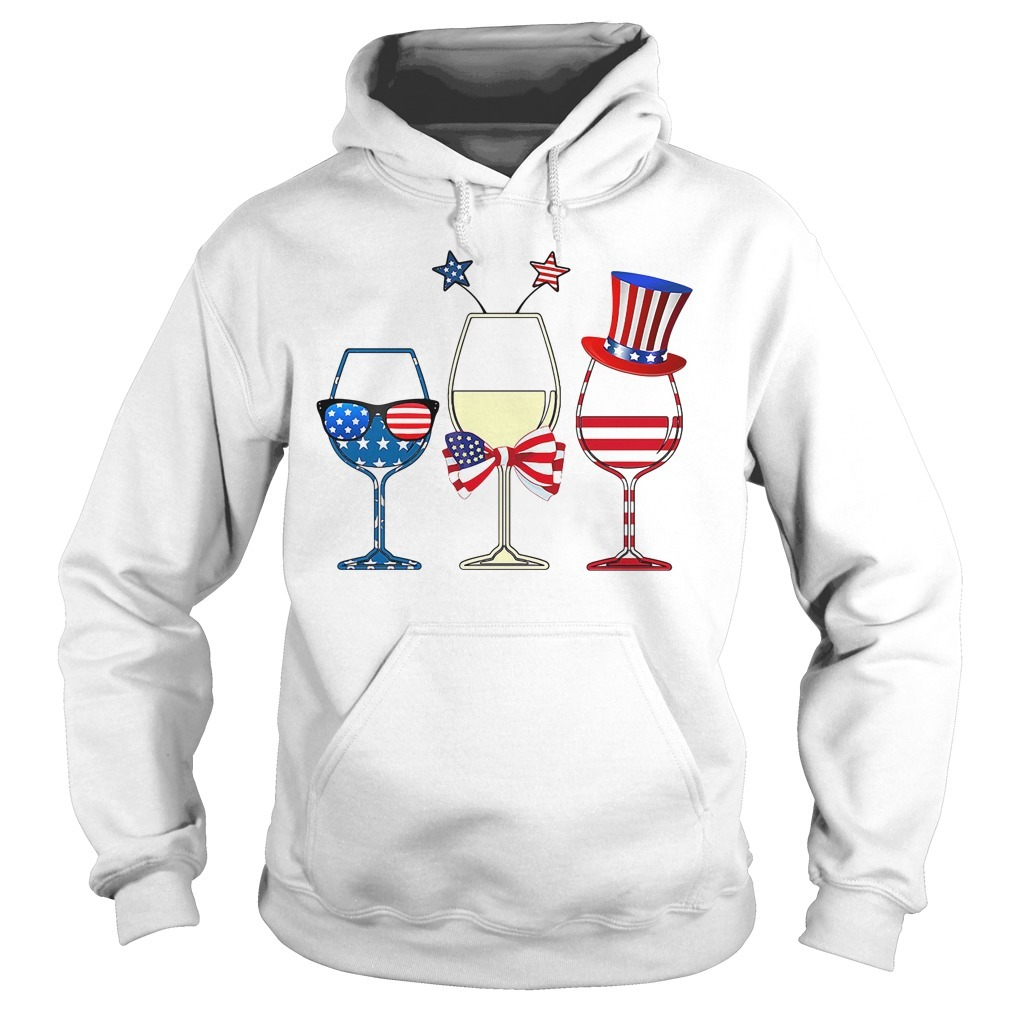 Three glass wine American flag independence day holiday Hoodie