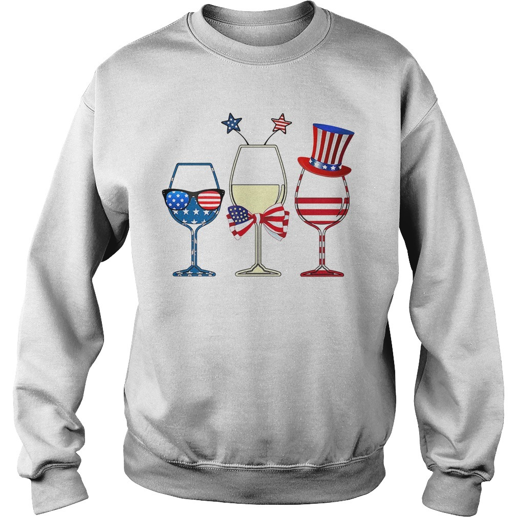 Three glass wine American flag independence day holiday Sweater
